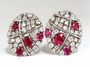 3.50ct Natural Ruby Diamonds Cluster Cocktail Clip earrings 18kt