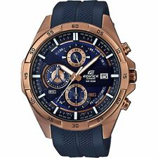 Casio Mens Watch EDIFICE EFR556PC-2A Chronograph Rose Gold Dark Blue Resin NEW.