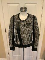 Rag & Bone Gray Wool Knit Front Zip Moto Jacket w/ Black Leather Trim, Size XS