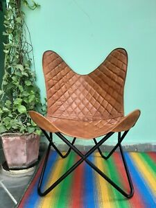 Handmade butterfly real leather Folding Seat ceacks brown chair room relaxing