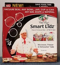 CHEF TONY'S SMART LIDZ ~ Set of 4 ~ New in Box ~ Vacuum Seal any Bowl or Cup!