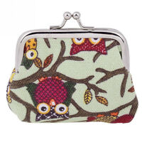 New Cute Owl Tree Zip Canvas Coin Purse Girl Women Wallet Bag Clutch Handbag P~