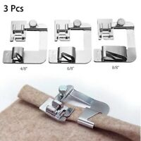 3Pcs Domestic Sewing Machine Foot Presser Rolled Hem Feet For Brother Singer US