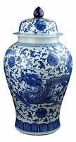 "Festcool 24"" Classic Blue White Dragon Porcelain Ceramic Temple Ginger Jar Va..."