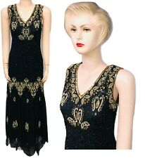 New Ladies Black Gold Sequin Beaded Vintage Evening Long Dress size Fit up to 24