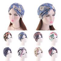 Women Muslim Turban Cotton Cap Hair Loss Cancer Chemo Hats Floral Print Headwrap