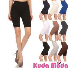 Women Basic Solid Color Stretch Bike Shorts Fitness Workout Shorts Yoga Shorts