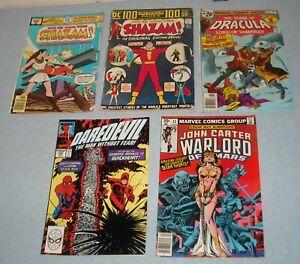 LOT of 5 LOW GRADE KEY DC MARVEL COMICS SHAZAM # 8 & 26 DAREDEVIL # 270 DRACULA
