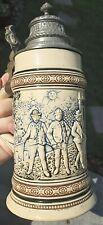 """8.5"""" Lidded Reinhold Merkelbach GERMAN STEIN Three Young Men RM1167 Pottery"""