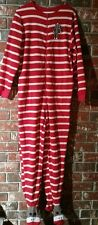 Nick And Nora Red White Striped Sock Monkey Footed Pajamas One piece M