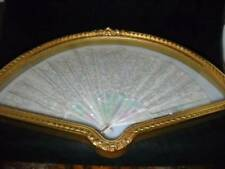 Antique Victorian Lace Mother of Pearl Fan in Lovely Fan Shaped Shadow Box