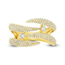 Womens 0.70CT 14K Yellow Gold Diamond Pave Open Claw Bridge Cocktail Ring