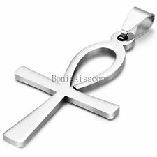 Pendant Necklace Stainless Steel Chain Charm Egyptian Ankh Cross Men's Women's
