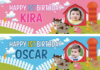 2 Personalised Birthday Banner Photo Children Baby Farm Animal Party Decoration