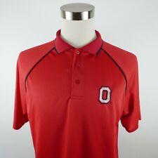 Ohio State Buckeyes Mens Polyester SS Solid Red Polo Shirt by 4th and 1 Large