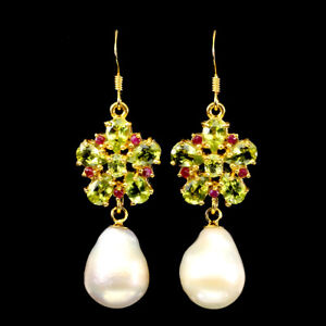 Unheated Pear Peridot Ruby Pearl Yellow Gold Plate 925 Sterling Silver Earrings
