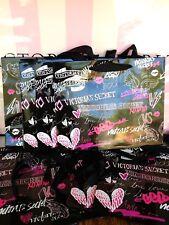 (5) Victoria's Secret BLACK GRAFFITI Small Paper Shopping Gift Bag