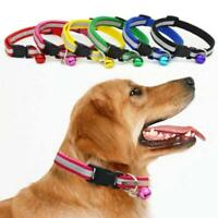 Collar with Bell Glossy Colorful Reflective Safety Buckle Small Puppy Cat Dog L