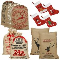 Large Christmas Santa Sack Vintage Hessian Stocking Gift Presents Xmas Bag NEW