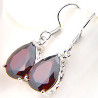 Fashion Jewelry Water Drop Fire Red Garnet Gems Silver Dangle Hook Earrings