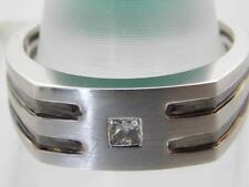 MENS 14KT WHITE GOLD SOLITAIRE DIAMOND COMFORT FIT BAND RING 8.5mm SIZE 10.5