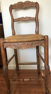 French Country Hand Carved Rattan Bar Stool
