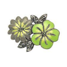 Sterling Silver Marcasite & Enamel Flower Corsage Pin Brooch