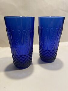Set of 4Royal Sapphire Cobalt Blue Old Fashioned Glasses by AVON Made in France