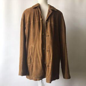 80's Retro Vintage Rico Piel Men's Suede Jacket Coat Rich Tan Brown S Great Cond