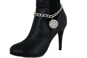 Party Time Women Silver Metal Chain Boot Bracelet Shoe Anklet 80's Ball Charm
