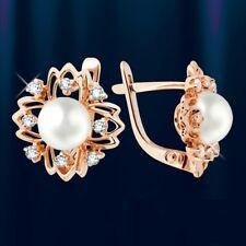 Rose Rotgold 585 Ohrringe mit Perlen und CZ Echtschmuck Neu Glänzend Elegant