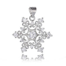 1PC Silver Plated Snowflake Crystal Necklace Pendant Women Gift