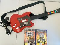 Playstation 2 PS2 Guitar Hero Red Octane PSLGH Wired Controller + 2 Games