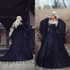 Gothic Black Lace Wedding Dresses Long Sleeved Lace up Back Medieval Bridal Gown