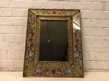 Vintage Possibly Antique Wall Hanging Mirror with Painted Floral Decorations