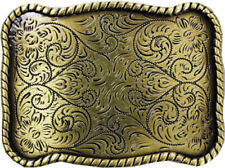 Floral Western Style Metal Belt Buckle Bronze Cowboy Cowgirl Rancher