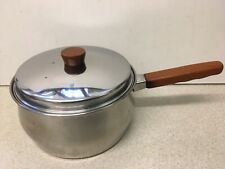 Vintage PRESTIGE Stainless Steel COPPER BOTTOMED 20 cm SAUCEPAN Wooden handle