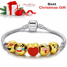 Xmas 18K Gold Plated Christmas Gift Emoji Charm Bracelet 5 Beads Ladies Jewelry
