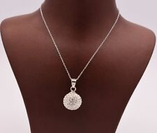 Shamballa Cubic Zirconia Crystal Disco Necklace Pendant Real Sterling Silver 925