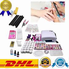 36 W Kit Reconstrucción Uñas Profesional Nail Art completo lámpara UV Gel DE DHL