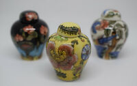 Set Of Three Miniature Vases With Tops Chinese Vase
