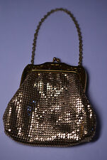 VINTAGE WHITING & DAVIS GOLD MESH BAG PURSE MINT CONDITION W/ ORIG. MIRROR & BOX