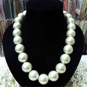 18mm White Round Shell Pearl Necklace 18inch 18K Clasp luxury cultured elegant