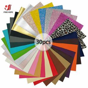 30pcs Sheets Fine Glitter Faux PU Leather Vinyl Fabric Bows Handmade 20*15cm
