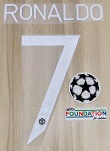 NEW! Manchester United Ronaldo #7 2021/22 CHAMPIONS LEAGUE NAME SET + UEFA PATCH