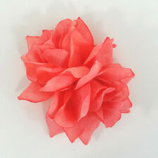 Double Coral Rose Handmade Hair Flower Clip Pinup Retro Rockabilly