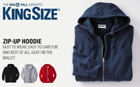 KingSize Men's Big and Tall Fleece Zipper Hoodies Sizes Full Zip Sweatshirt NEW