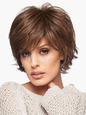 100% Echthaar Natürliche Kurz Braun Perücke NEU Mittelbraun Damen Haar Perücken