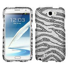 Samsung Galaxy Note II 2 Crystal Diamond BLING Hard Case Phone Cover Zebra