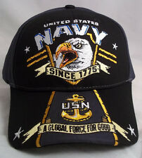UNITED STATES NAVY SINCE 1775 GLOBAL FORCE FOR GOOD  BALL CAP HAT H12